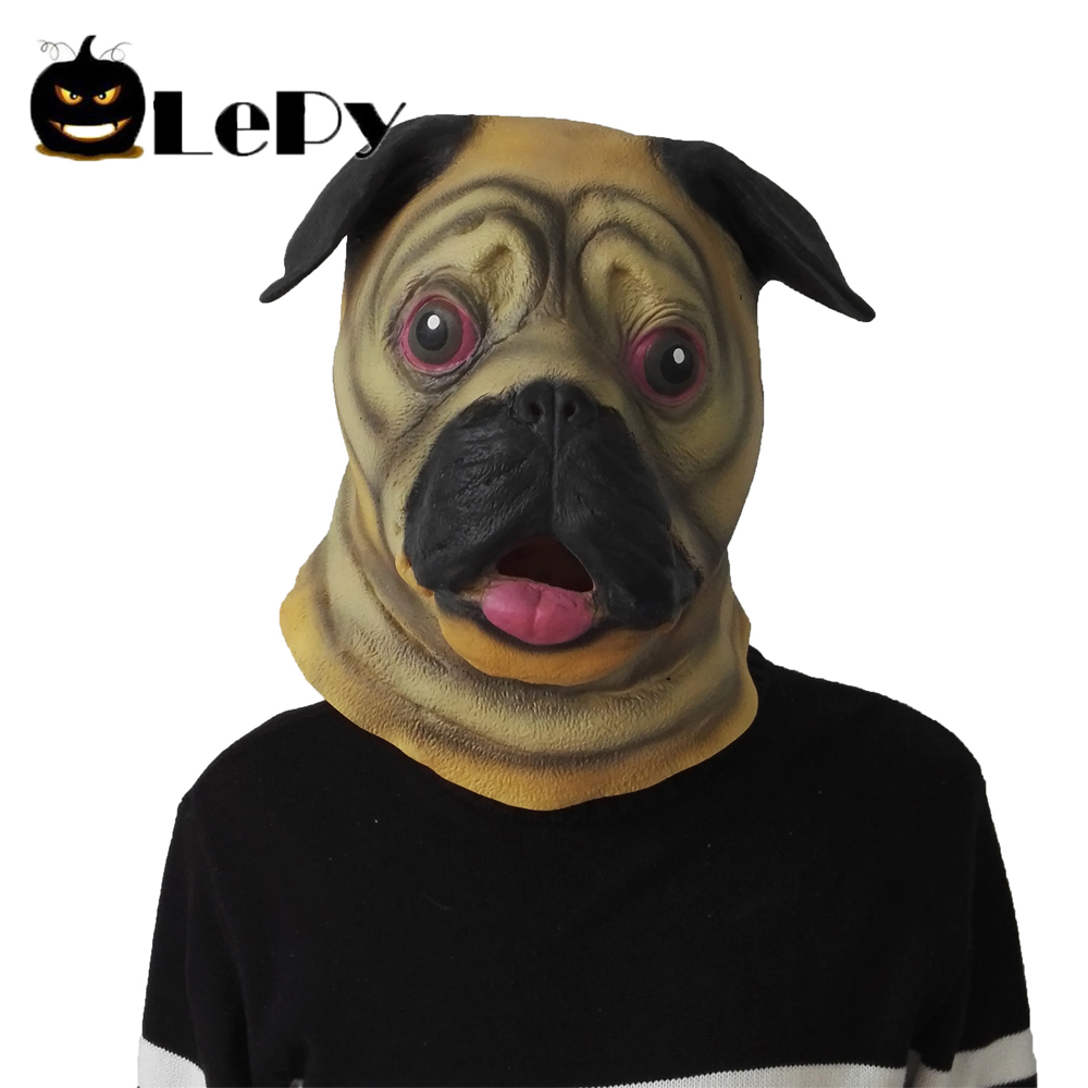 cute pug dog head latex mask full face adult mask breathable halloween masquerade fancy dress party cosplay costume funny mask in party masks from home