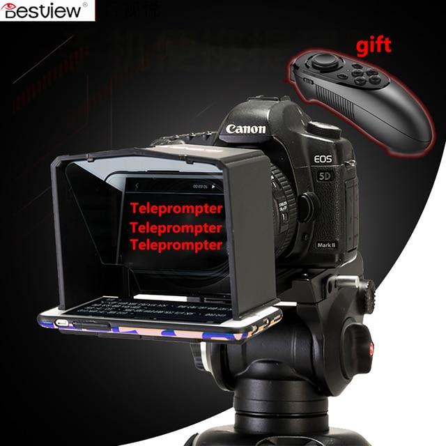 Bestview smartphone teleprompter para canon nikon sony camera photo studio dslr para youtube entrevista teleprompter câmera de vídeo