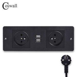 Image 1 - COSWALL двойная французская стандартная розетка с 2 usb зарядным портом, кухонная настольная розетка, мебель, распределительные блоки питания