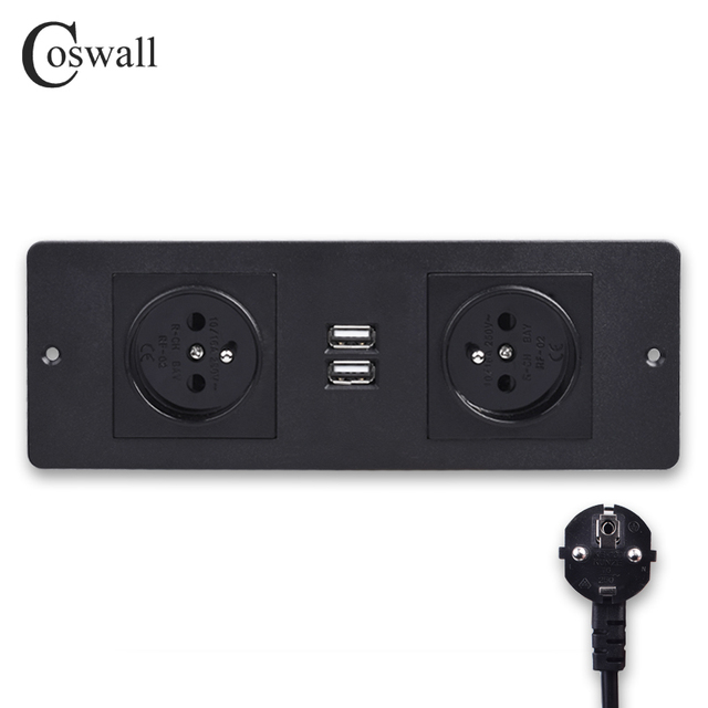 COSWALL Double French Standard Power Outlet 2 USB Charging Port Kitchen Table Desktop Socket Furniture Power Distribution Units