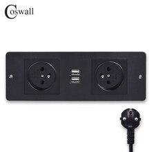 COSWALL คู่ภาษาฝรั่งเศสคำมาตรฐาน Power Outlet 2 พอร์ตชาร์จ USB ตารางเดสก์ท็อปซ็อกเก็ตเฟอร์นิเจอร์ Power Distribution Units