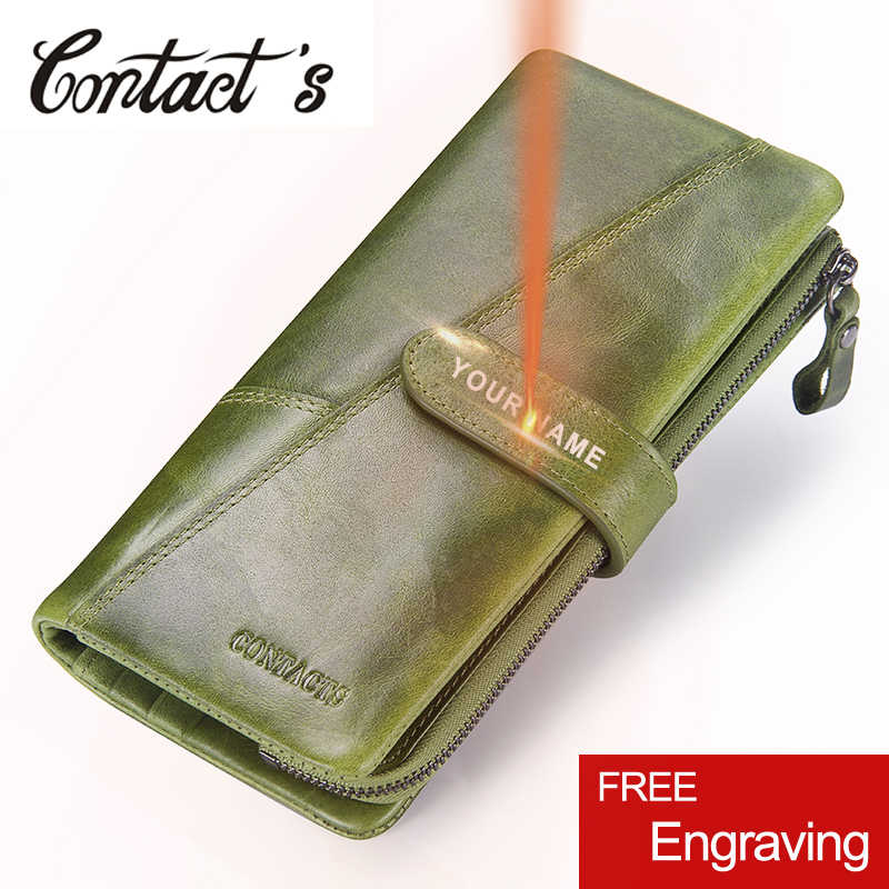 69090298eac1 Контакта Модные женские бумажник из натуральной кожи Для женщин Длинные  сцепления кошельки большой Ёмкость портмоне держатель
