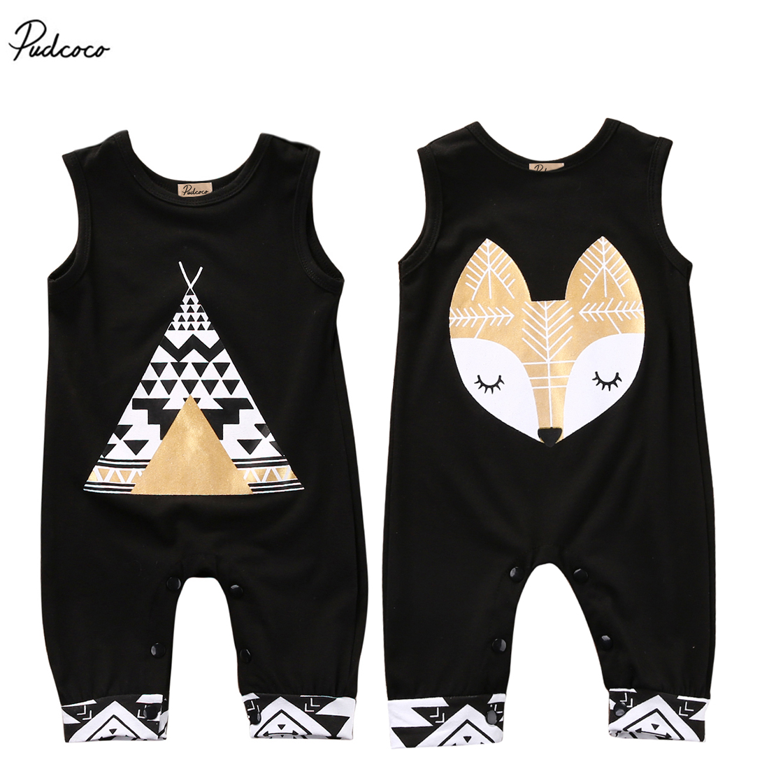 Cotton Newborn Baby Boys Girls Tent Fox Romper 2017 New Summer Sleeveless Jumpsuit Clothes Sunsuit Outfits 2017 summer toddler kids girls striped baby romper off shoulder flare sleeve cotton clothes jumpsuit outfits sunsuit 0 4t