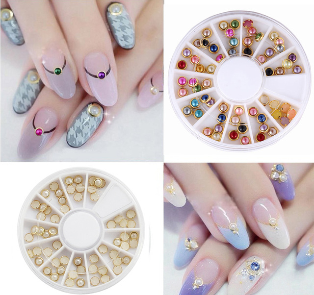 hotsale 3d Japanese Nail Art Pearls With Gold Trim Around nail wheel ...