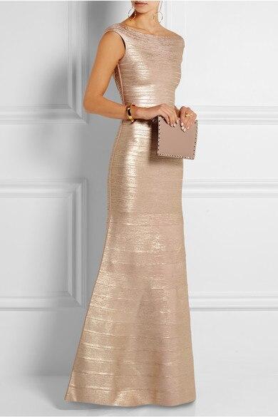 جديد فستان طويل ذهبي تمتد الذاتي زراعة أناقة الأزياء الفاخرة المشاهير ضمادة فستان طويل (H0858)-في فساتين من ملابس نسائية على  مجموعة 1