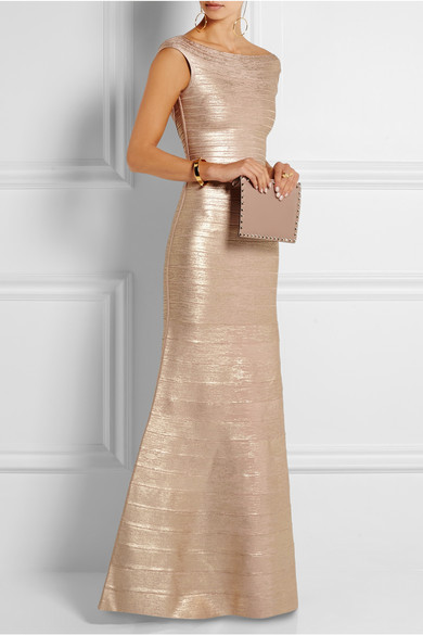 Նոր երկար զգեստ Ոսկե ձգվող ինքնաբուծություն Նորաձևության նրբագեղություն շքեղ հանրահայտ հանրահայտ վիրակապ երկար զգեստ (H0858)