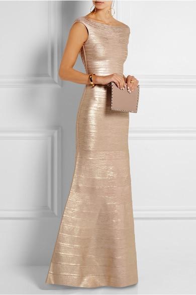 New langes Kleid Golden Stretch Selbstkultivierung Mode Eleganz luxuriöse Promi Bandage langes Kleid (H0858)