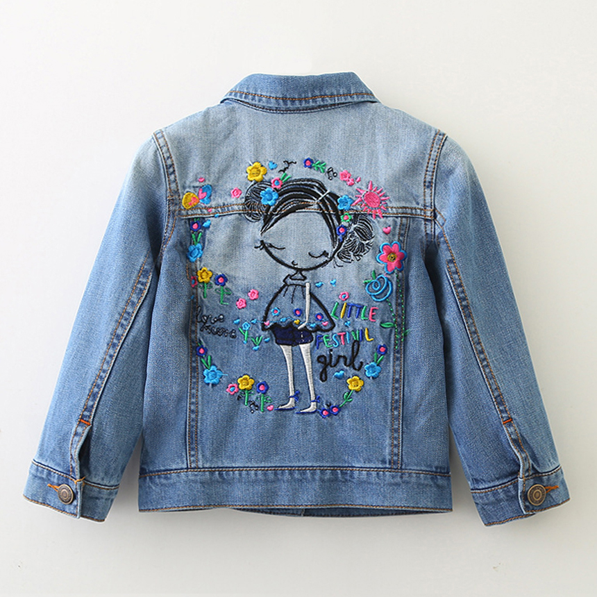 Casual Girls Denim Jackets Coats Long Sleeves Pretty Embroidery Denim Jacket Spring Fall Children Outwear Kids Denim Coat 2-10 Y лимфомы и лимфогранулематоз