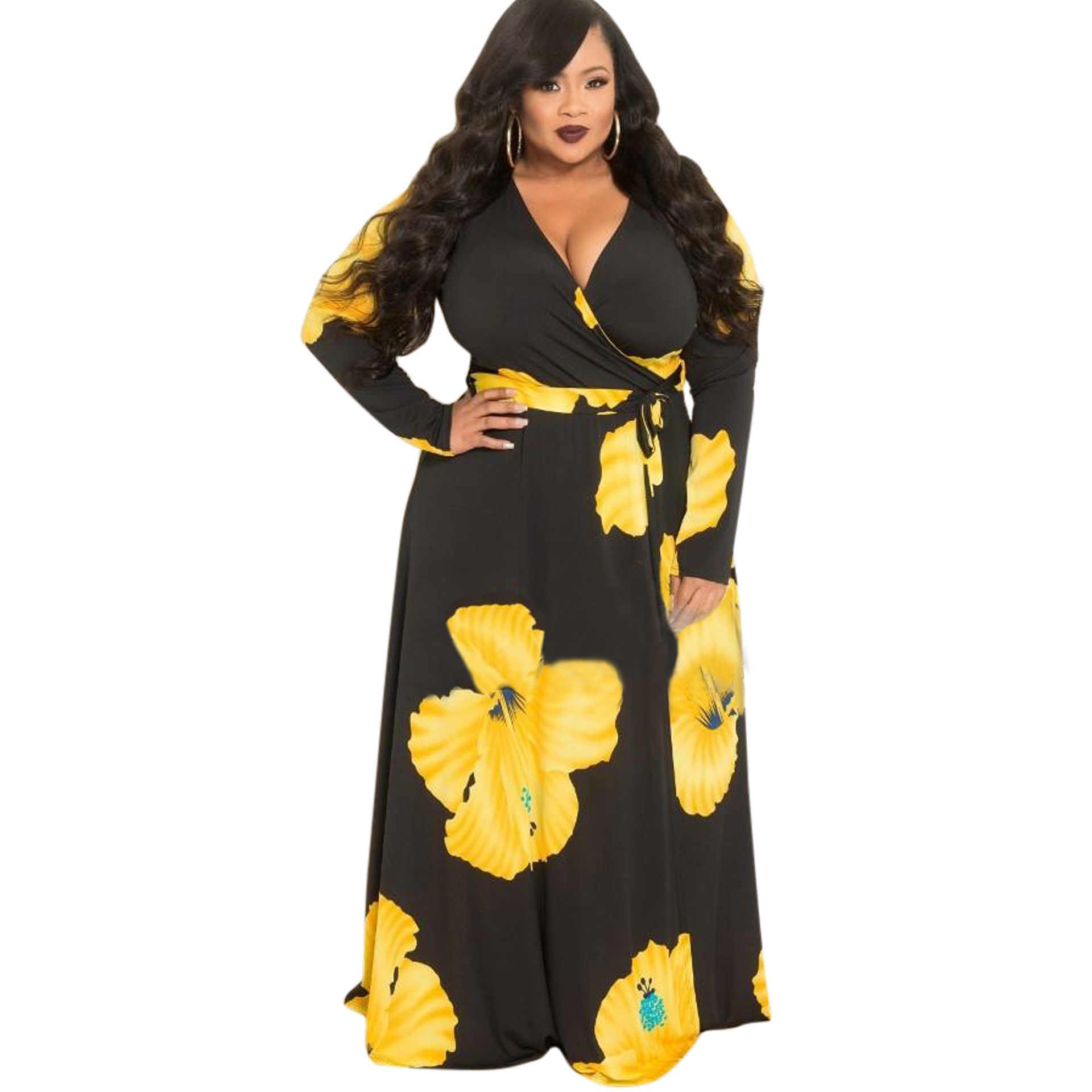 dc5d3428a4a QMGOOD 2018 большой Размеры Элегантный V шеи принтом длинное платье Для  женщин с длинным рукавом жира