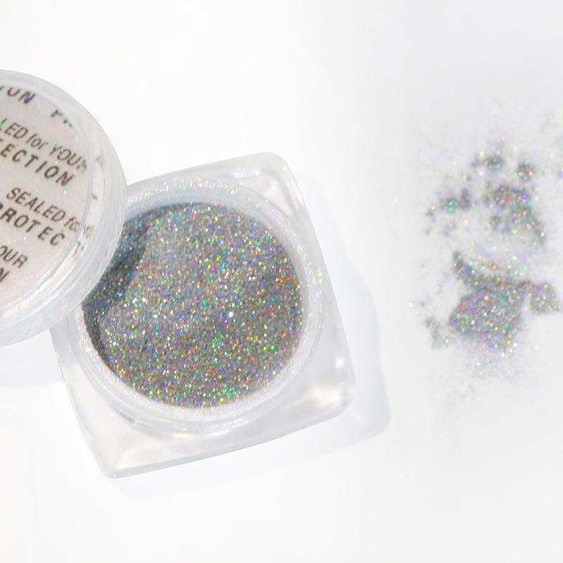 1 Box Nail Holographic Mirror Effect Powder Enamel Gel Laser Silver Mirror Metal Powder Chromed Pigment Powder in Nail Glitter from Beauty Health