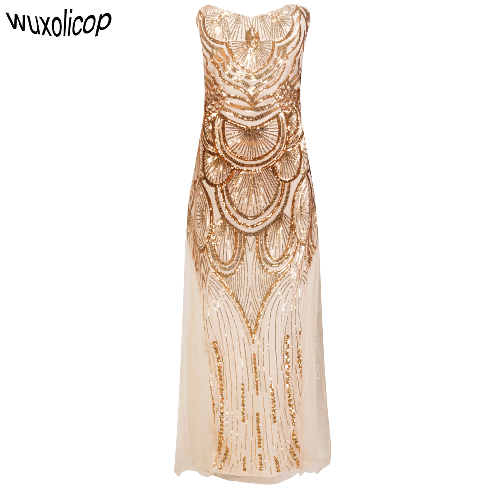 89210781ca Women Long Maxi Strapless Gold Off Shoulder Art Deco Formal Dress ...