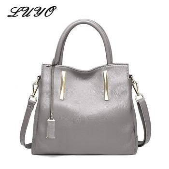 LUYO Soft Natural Cowhide Women Designer Handbag High Quality Ladies Tote Bags Genuine Leather Women Messenger Shoulder Bags