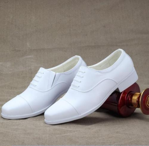 White Men Lace Up Pointed Toe Casual Wedding Navy Military Shoe Dress Block Heel Plus Size