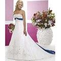 2017 Una Línea Sin Espalda vestido de noiva princesa Bordado Sin Tirantes de Encaje Satinado vestido de Novia Azul y Vestidos Blancos De Boda