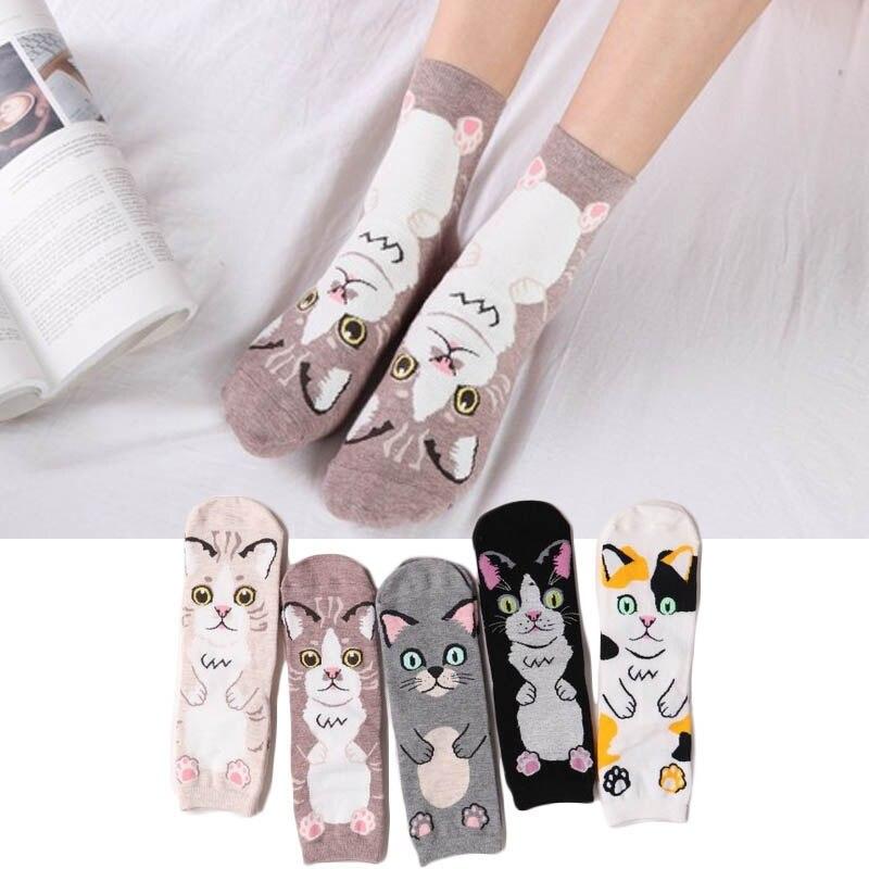 Nieuwste Collectie Van Winter Vrouwelijke Sok Katoen Chaussette Leuke Animal Gedrukt Sokken Kat Gezicht Patroon Sokken Winter Herfst Been Warmer