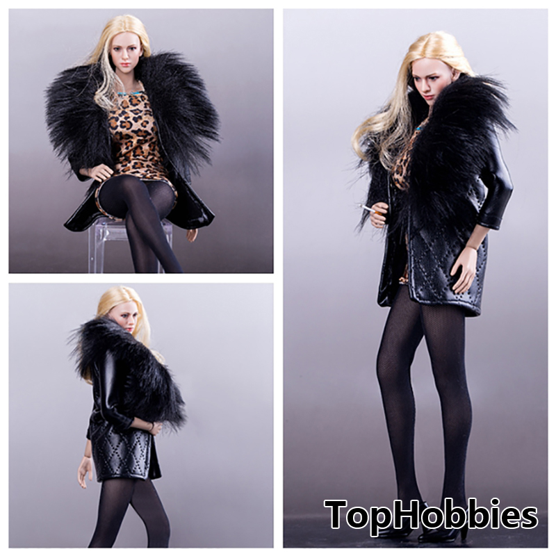 1/6 Scale Female Clothes for dolls VS024 Fur Collar Leather Coat+Leopard Mini Skirt Suit Fit 12inch Phicen Figure VS031 Flexible 2017 winter new clothes to overcome the coat of women in the long reed rabbit hair fur fur coat fox raccoon fur collar