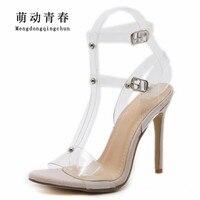 2018 New Spring Women High Heels Shoes Fashion Women Gladiator Peep Toe Pumps Buckle Strap Clear Transparent High Heel Pumps
