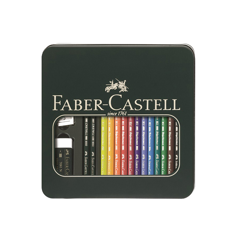 FABER CASTELL 110040 painting set oily color pencil sketch pencil color pencil art design scribble scribble pen faber castell 25 pieces of pencil sketch sketch article carbon combination 112969