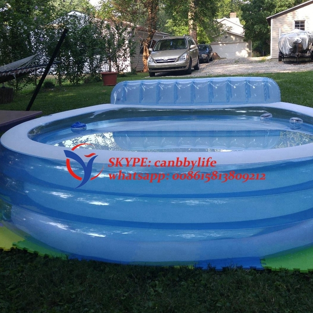 Intex Summer Garden Backyard Family Size Inflatable Lounge Pool With Built In Bench Cupholder Headrest See Through Wall