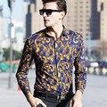 OSCN7 Цветочный Печатные С Длинным Рукавом Рубашки Мужчины Фантазии Вечер плюс Размер Рубашки Turn Down Воротник Slim Fit Отдыха Сорочка Homme