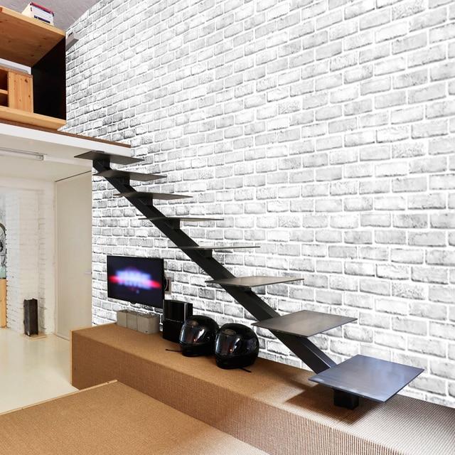 pvc wallpaper modern 3d stereo white brick wall paper living room