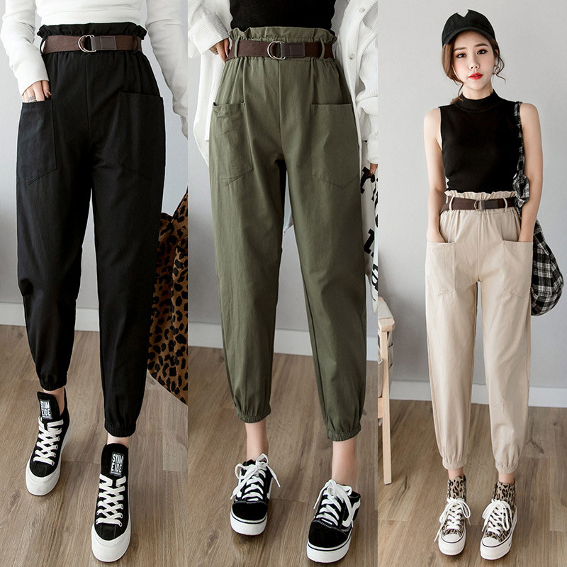 Women's High Waist Pencil Harem Pocket Pant Solid Streetwear Female Cargo Trousers 2019 Summer Woman Ankle-length Pants Bottoms