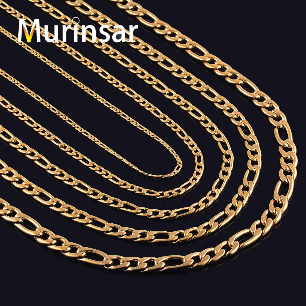 Gold Filled Stainless Steel Necklace Figaro Chain for Men and Women Stainless Steel Gold Link Chain Necklace High Quality