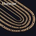 Ожерелье «Фигаро» для мужчин и женщин, цепь из нержавеющей стали золотого цвета, колье