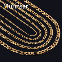 18K Gold Filled Stainless Steel Necklace Figaro Chain For Men And Women Stainless Steel Gold Link