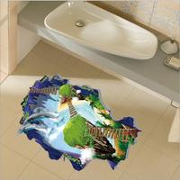 3D Backdrop Vinyl Removable Wall Sticker Room Bathroom Floor Stickers Dolphin Ladder Bridge Wall Decor For