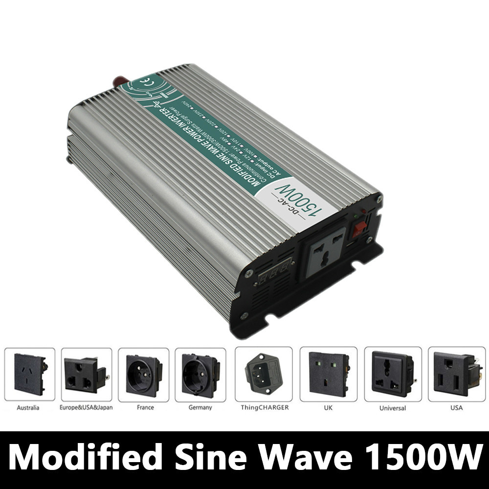 1500W Modified Sine Wave Inverter,DC 12V/24V/48V To AC 110V/220V,off Grid Power Invertor,voltage Converter for Battery Panel