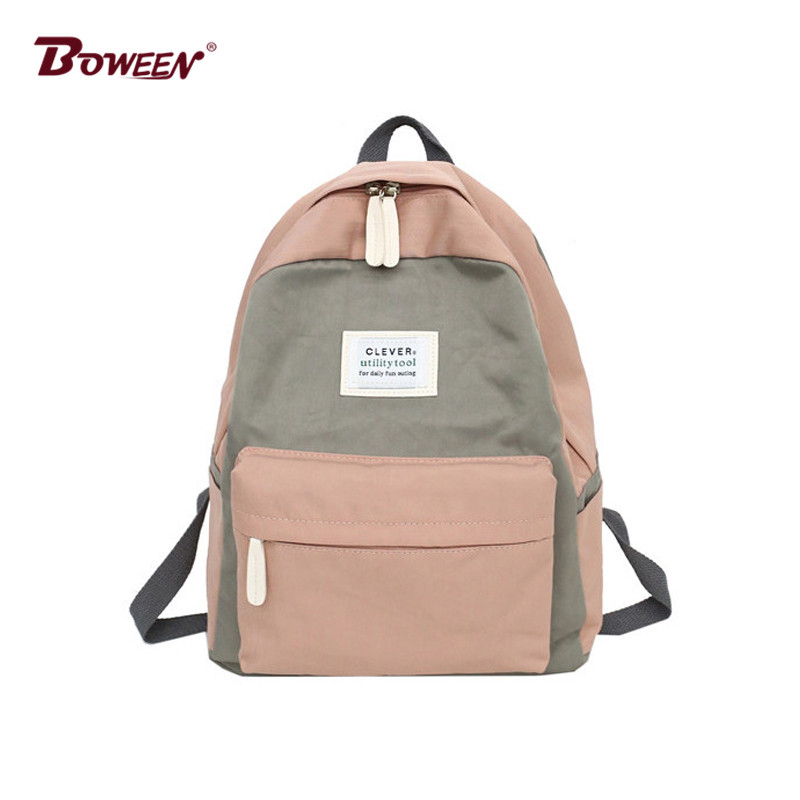 Casual girl backpack schoolbag for teenagers canvas back pack women school bags Patchwork Contrast Color female rucksack bagpack women canvas backpack school bag for girl ladies teenagers casual travel bags schoolbag backpack b6702
