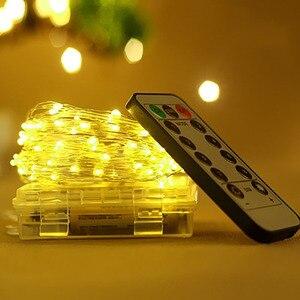 Image 2 - 5M 50LED Kupfer Draht Licht String Batterie Power Mit Fernbedienung Fee Lichter String Hochzeit Christma Urlaub Dekor Beleuchtung