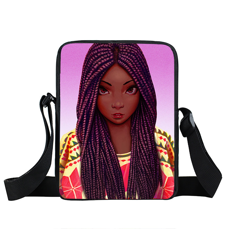 Afro Lady Girl messenger bag Africa Beauty Princess small shoulder bag brown women handbag mini totes teenager crossbody bags 32
