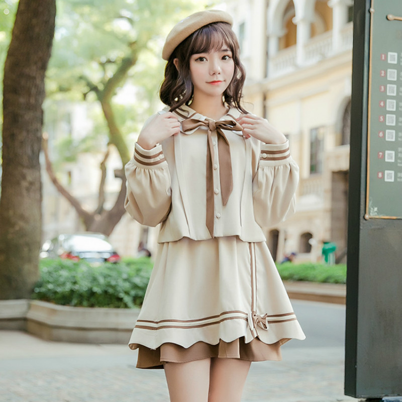 Japanese Cute Preppy Style Dress School Uniform Women Lolita Sailor Dress Korean Bandage Bowknot For Girl Two Piece Set Dresses