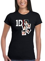 AWDIP Ufficiale One Direction Photo Stack delle Donne delle Donne T-Shirt I Love 1D Teenager Musica Pop Harry Styles Estate Rock Roll T-Shirt