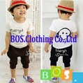 [Bosudhsou] Summer Baby Children Clothing Boys Girls T-shirt+Pants Smiling Face Boy Hot-Selling Kids Clothes Set 4 Color