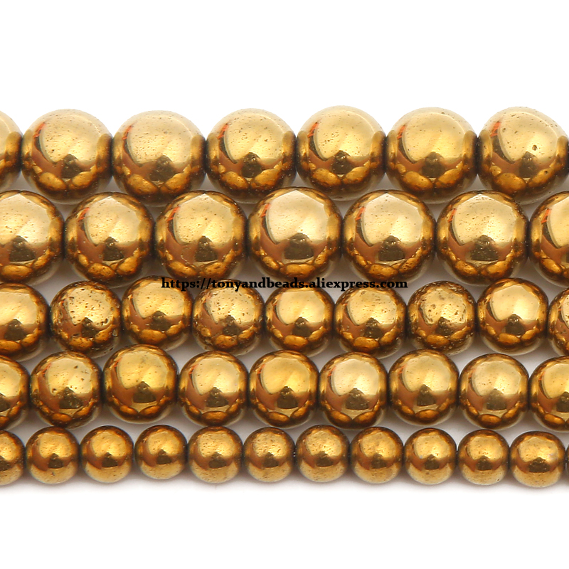 """Free Shipping Natural Stone Gold Plt Hematite Round Loose Beads 4 6 8 10 MM 15"""" Per Strand Pick Size For Jewelry Making"""