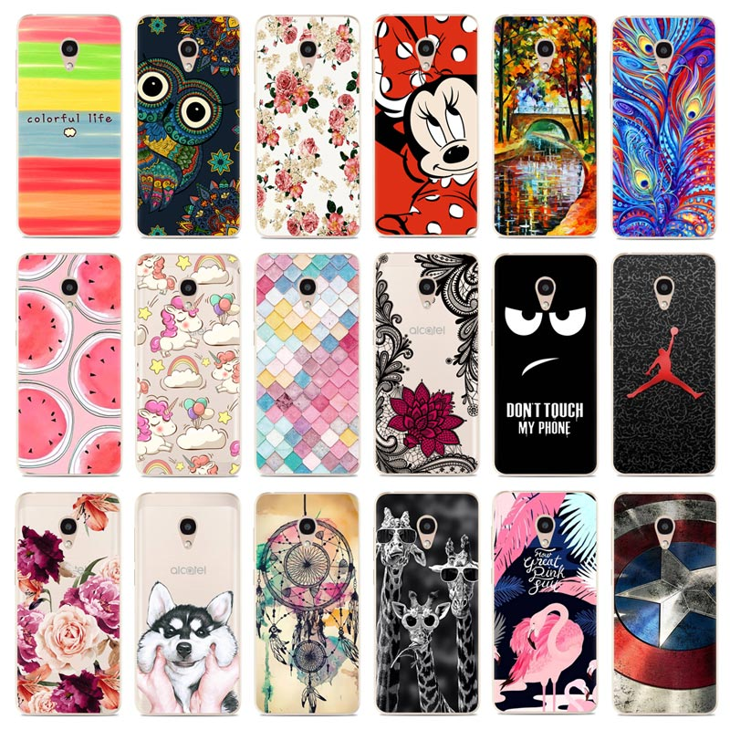 Phone Case For Alcatel 1C / 1X / 3 / 3C / 3V / 3X Cute Cartoon High Quality Painted TPU Soft Case Silicone Cover