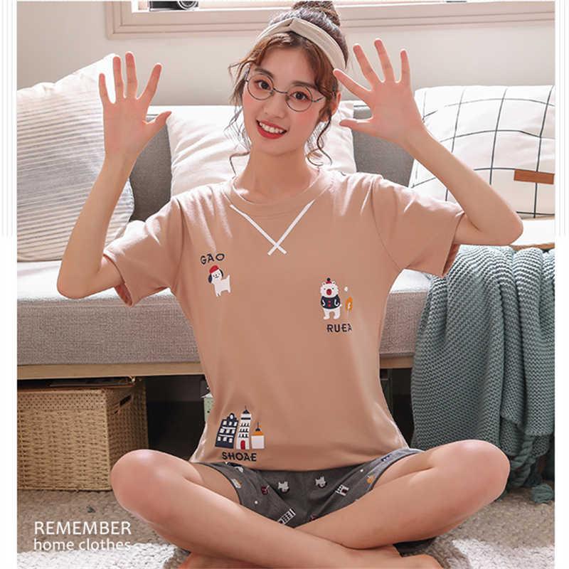パジャマセット女性パジャマ女性パジャマナイトスーツスパースター Mujer ホームウェア女性プラスサイズ 2019 夏の漫画の綿ナイトウェア