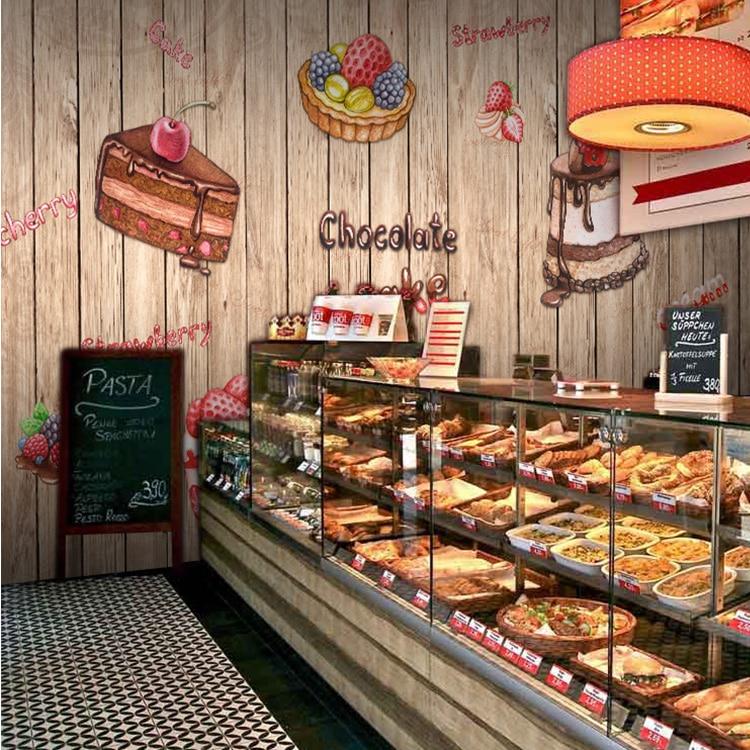 Custom Photo Wallpaper 3D Delicacy Cake Bakery Restaurant Tea Shop Dessert Background Wood Wallpaper Mural