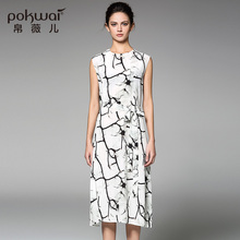 POKWAI Casual Summer Silk Dress High Quality Women Fashion 2017 New Arrival Sleeveless O Neck Sashes