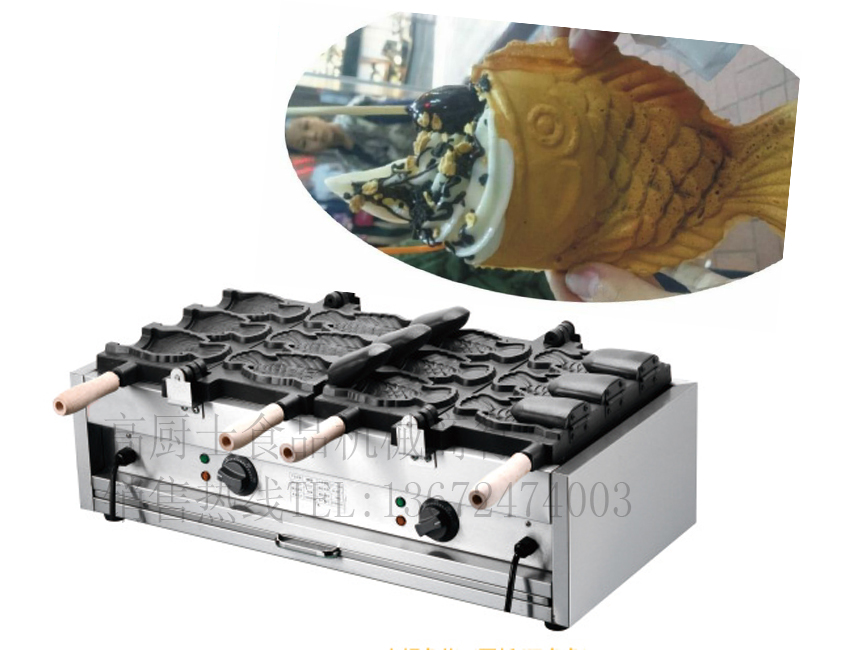 Free shipping Electric 6 pcs 110v 220v   Open mouth Ice cream Taiyaki machine Fish waffle maker недорого