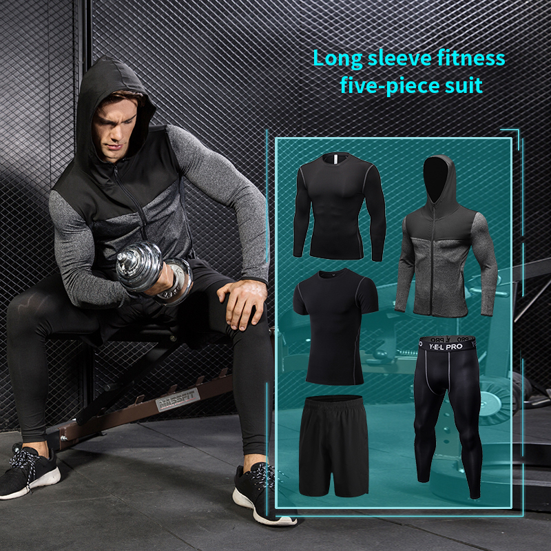 HOT 5 Pcs Sport Suit Fitness Tights Polyester Breathable Running Set Jogging Clothing Sports Coat Basketball GYM Set Men