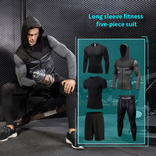 5Piece Running Suit Fitness Tights Polyester Breathable Running Set Men's Jogger Sports Clothing Set Sports Coat Basketball Set(China)