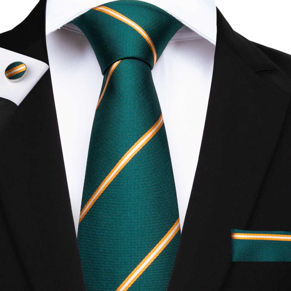 f3e07159b0f7 BarryWang New Gravate Silk Ties For Men Wedding Necktie Green Yellow  Striped Mens Tie With Match