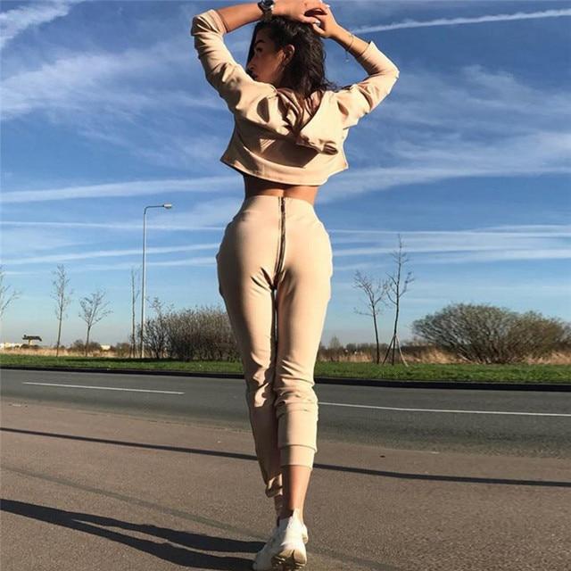 2018 Tracksuit 2 Pieces Set Sweatsuit  Zipper Long Sleeve Women's Casual Sweat Suits Fitness Autumn Outfits