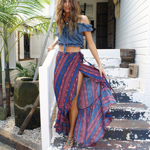2017 style bohemian beach skirts printing split skirts New women's skirts boho sexy ankle-length skirts holiday pleated skirts