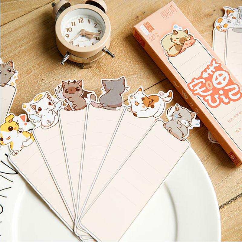 30pcs/lot kawaii cute cat blank bookmark reminder paper label school and office suppliers retail цена