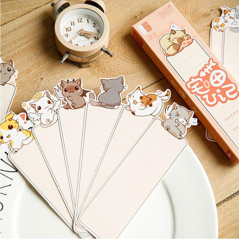 30pcs/lot kawaii cute cat blank bookmark reminder paper label school and office suppliers retail 30pcs lot sn74ls240n 74ls240